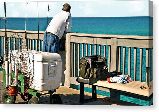 Fishing At The Pier Canvas Print
