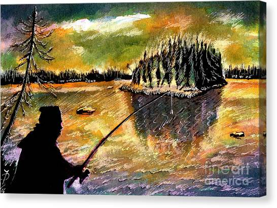 Fishing At Twilight Canvas Print by Ion Danu