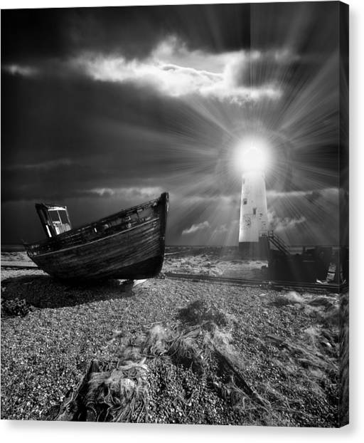 Night Lights Canvas Print - Fishing Boat Graveyard 7 by Meirion Matthias
