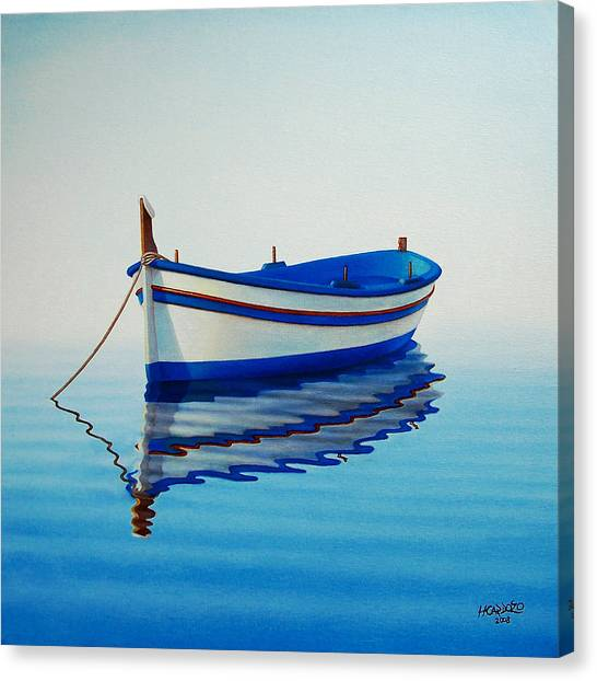 Blue Canvas Print - Fishing Boat II by Horacio Cardozo