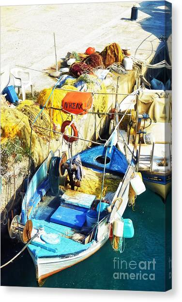 Crete Canvas Print - fishing boat in Crete by HD Connelly