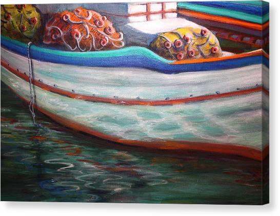 Fishing Boatgreek  Canvas Print by Yvonne Ayoub