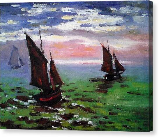 Fishing Boats At Sea Canvas Print by Peter Kupcik