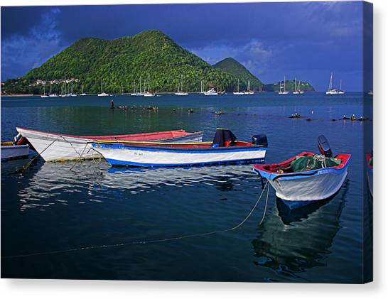 St. Lucia Canvas Print - Fishing Boats At Sunrise- St Lucia by Chester Williams