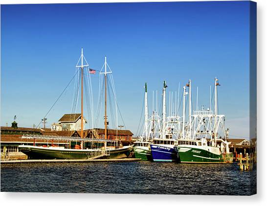 Fishing Boats In Cape May Harbor Canvas Print