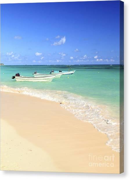 Sandy Beach Canvas Print - Fishing Boats In Caribbean Sea by Elena Elisseeva