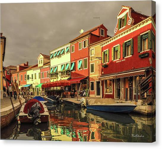 Fishing Boats In Colorful Burano Canvas Print