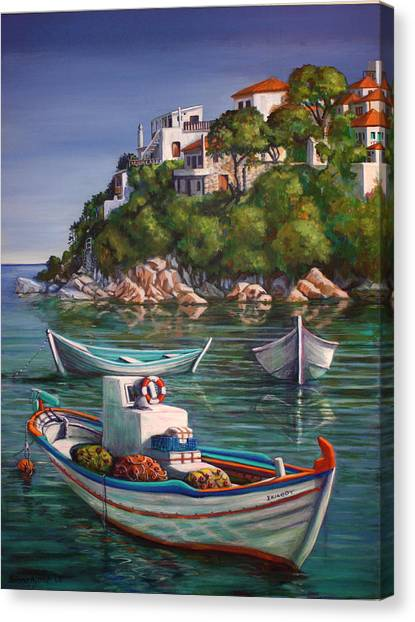 Fishing Boats In Skiathos Old Port Canvas Print by Yvonne Ayoub