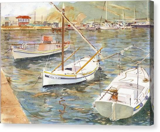 Fishing Boats In Skopelos Canvas Print