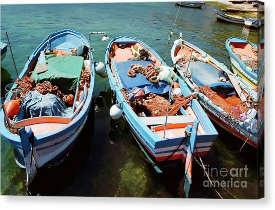 San Vito Lo Capo Canvas Print - Fishing Boats In The Harbor Of Mondello, Sicily by Dani Prints and Images