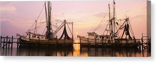 Fernandina Beach Canvas Print - Fishing Boats Moored At A Dock, Amelia by Panoramic Images