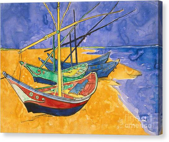 Fishing Boats Canvas Print - Fishing Boats On The Beach At Saintes Maries De La Mer by Vincent Van Gogh