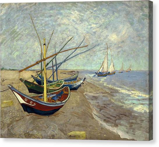 Canvas Print featuring the painting Fishing Boats On The Beach by Van Gogh