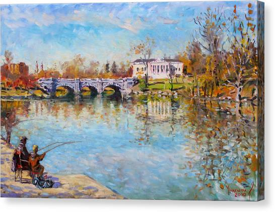 Delaware Canvas Print - Fishing Day By Delaware Lake Buffalo by Ylli Haruni