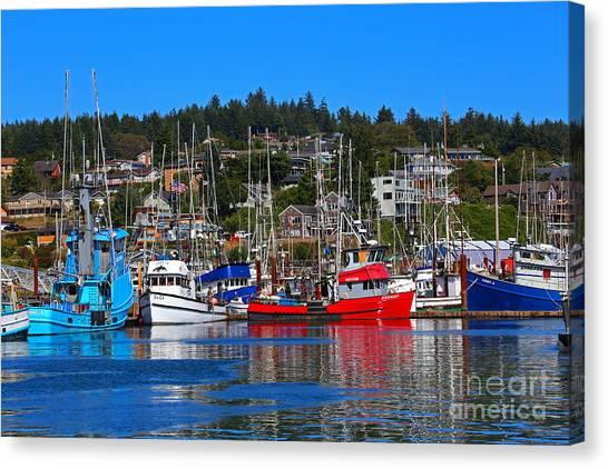Fishing Fleet At Newport Harbor Canvas Print
