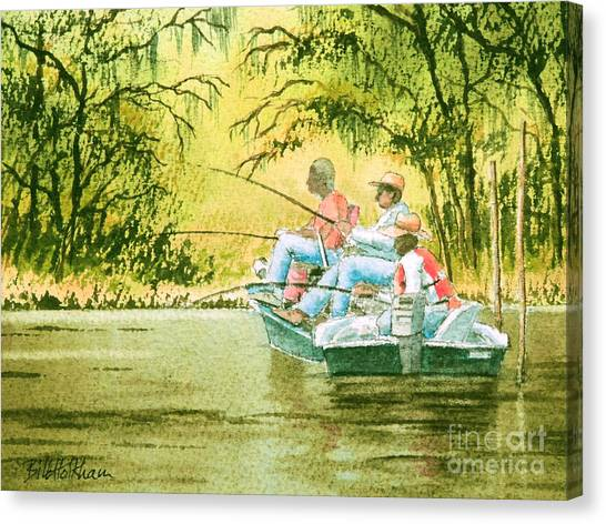 John Boats Canvas Print - Fishing For Mullet by Bill Holkham