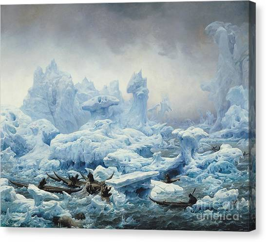 Fishing Poles Canvas Print - Fishing For Walrus In The Arctic Ocean by Francois Auguste Biard