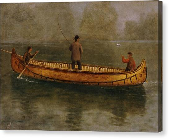 Angling Canvas Print - Fishing From A Canoe by Albert Bierstadt