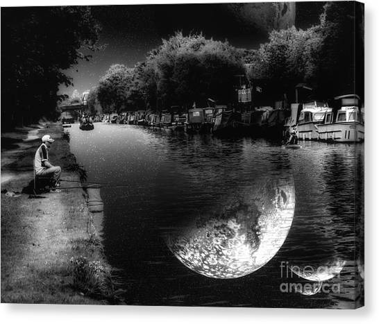 Fishing In The Moonlight Canvas Print