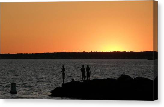 Fishing In The Sound Canvas Print by Steven W Rand