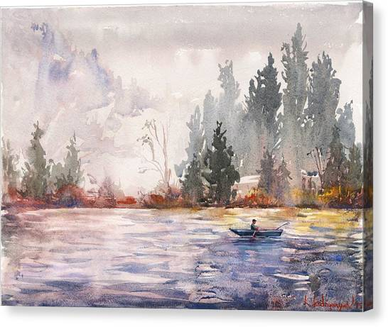 Pine Trees Canvas Print - Fishing by Kristina Vardazaryan