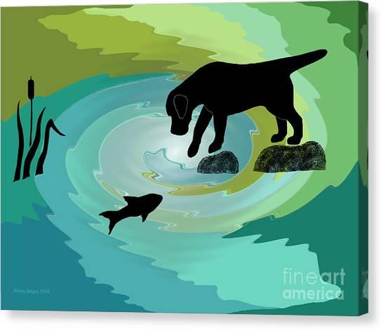 Fishing Labrador Dog Canvas Print