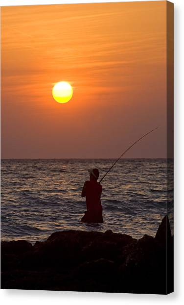 Fishing Lido Beach Canvas Print