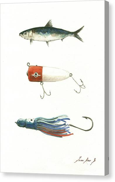 Fishing Canvas Print - Fishing Lures by Juan Bosco