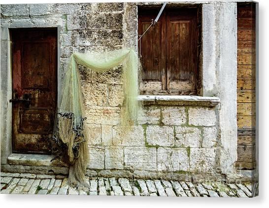 Fishing Net Hanging In The Streets Of Rovinj, Croatia Canvas Print