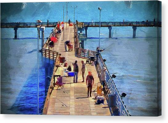 Fishing Off Galvaston Pier Canvas Print