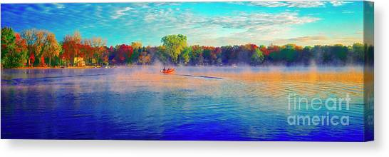 Fishing On Crystal Lake, Il., Sport, Fall Canvas Print