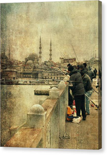 Fishing On The Bosphorus Canvas Print