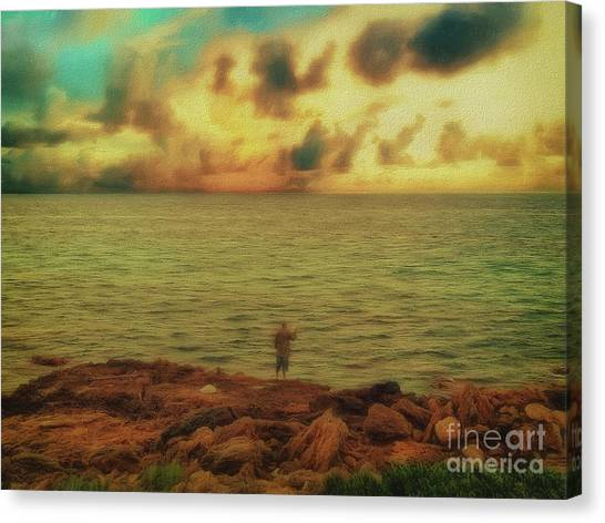 Canvas Print featuring the photograph Fishing On The Rocks by Leigh Kemp