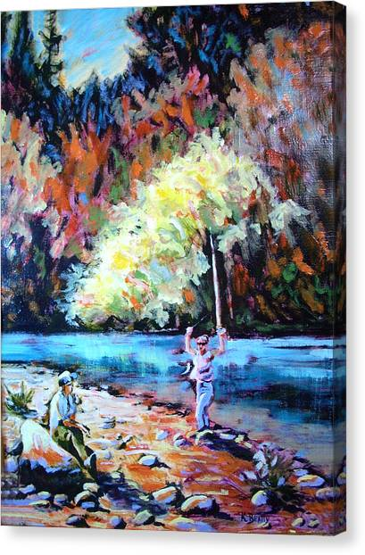 Fishing Painting Catch Of The Day Canvas Print