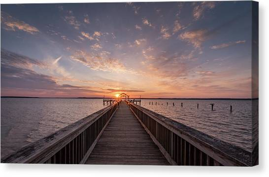 Fishing Pier Sunrise Canvas Print by Michael Donahue