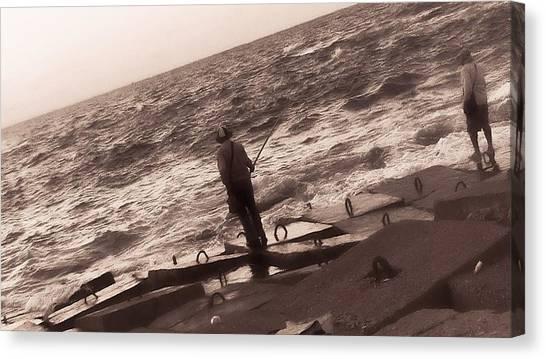 Men Fishing, Alexandria, Egypt Canvas Print