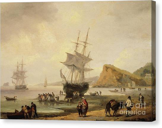 Low Tide Canvas Print - Fishing Scene, Teignmouth Beach And The Ness, 1831 by Thomas Luny