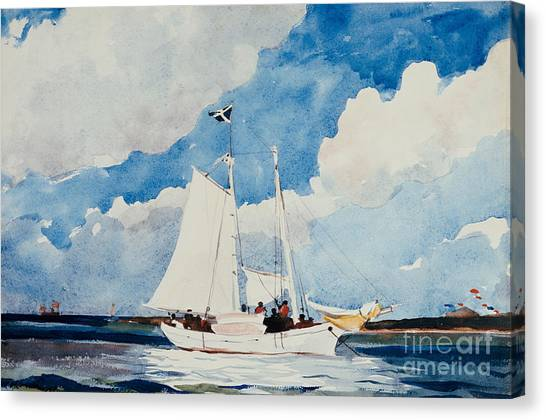 Atlantic Islands Canvas Print - Fishing Schooner In Nassau by Winslow Homer