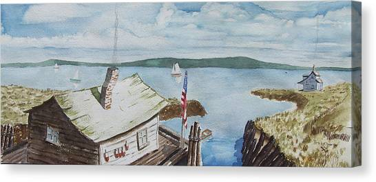 Fishing Shack With Old Glory Canvas Print by Robert Thomaston