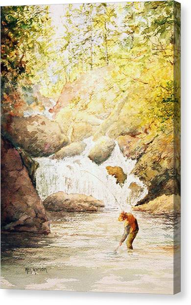 Fishing The Falls Canvas Print
