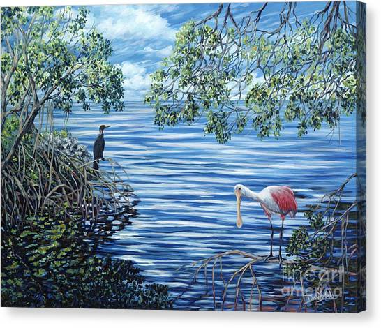 Spoonbills Canvas Print - Fishing The Mangroves by Danielle  Perry