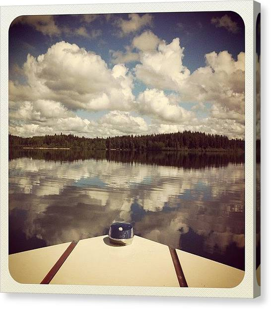 Fishing Boats Canvas Print - Fishing The Other Day. #beautiful #lake by Natasha Hanson