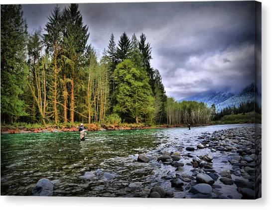 Fishing The Run Canvas Print