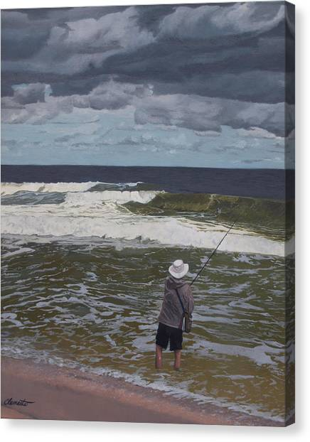 Fishing The Surf In Lavallette, New Jersey Canvas Print