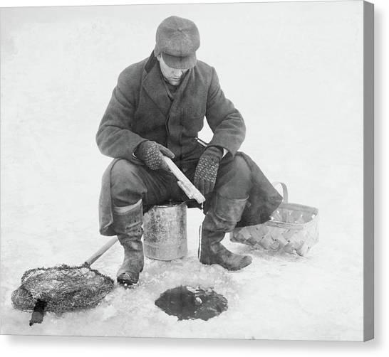Fishing Through Ice Canvas Print