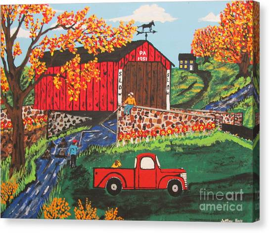 Canvas Print - Fishing Under The  Covered Bridge by Jeffrey Koss