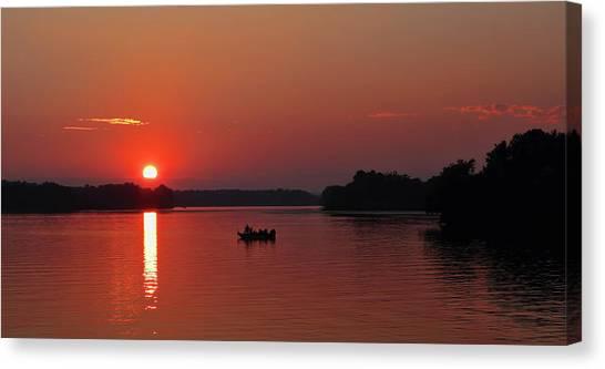 Fishing Until Sunset Canvas Print