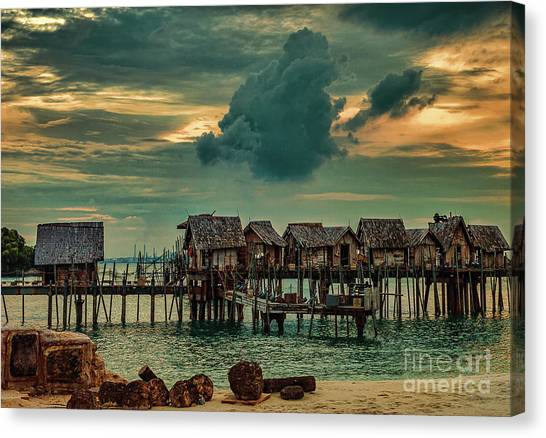 Canvas Print featuring the photograph Fishing Village by Ray Shiu