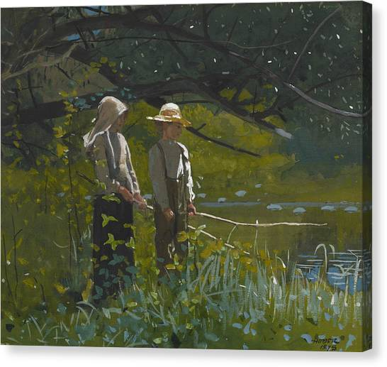 Fishing Poles Canvas Print - Fishing by Winslow Homer
