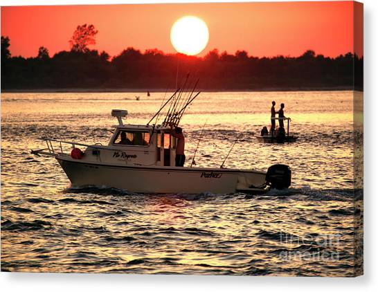 Fishing With Friends At Long Beach Island Canvas Print by John Rizzuto